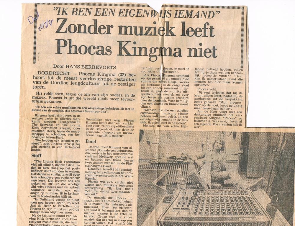 Zonder muziek leeft Phocas Kingmaniet