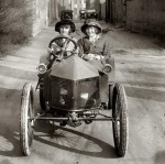 Vintage Image 1930s Two Young Girls Driving (public domain)