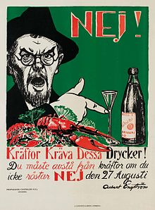 Affiche d'Albert Engström lors du référendum de 1922 au sujet de la prohibition d'alcool1.