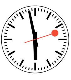 Klok, bijna zes uur, domme pawi!